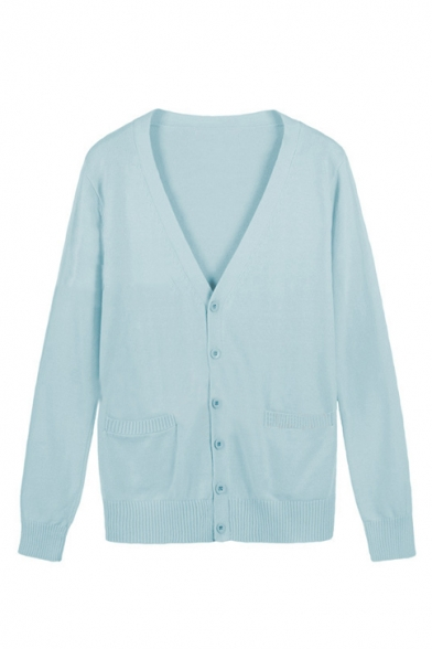 ... Women s Basic V-Neck Long Sleeve Plain Buttons Down Fitted Cotton  Cardigan ... 13aae9b91