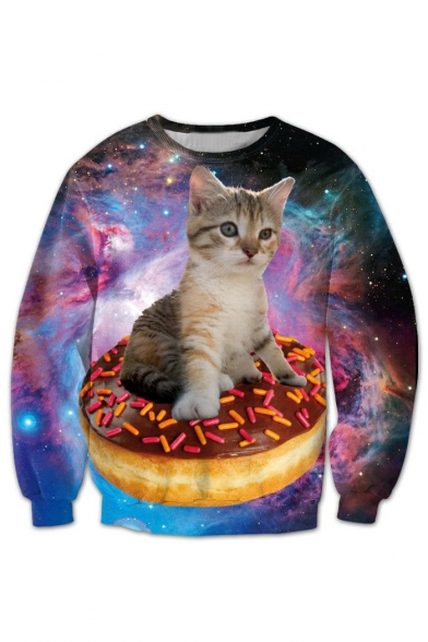 a2d6675deb55 3D Galaxy Cat Printed Round Neck Long Sleeve New Fashion Casual Sweatshirt