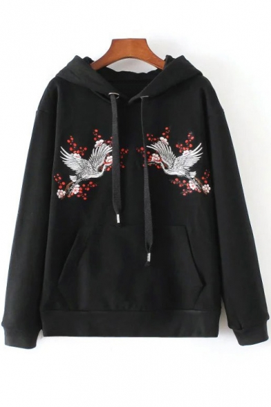 Embroidery Crane Floral Pattern Drawstring Hooded Long
