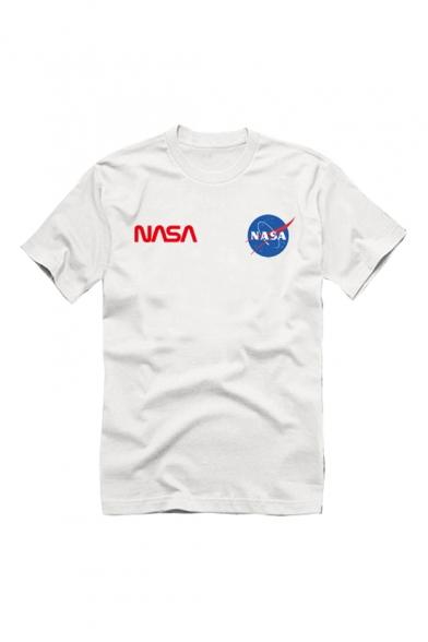 Fashion Nasa Logo Printed Short Sleeve Round Neck Casual Tee