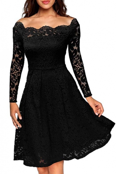 Glamorous Boat Neck Long Sleeve Lace Overlay Plain Midi Party Dress