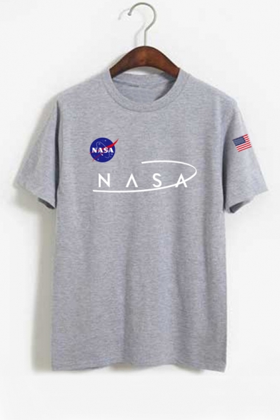 Popular NASA Logo Printed Short Sleeve Round Neck Casual Tee