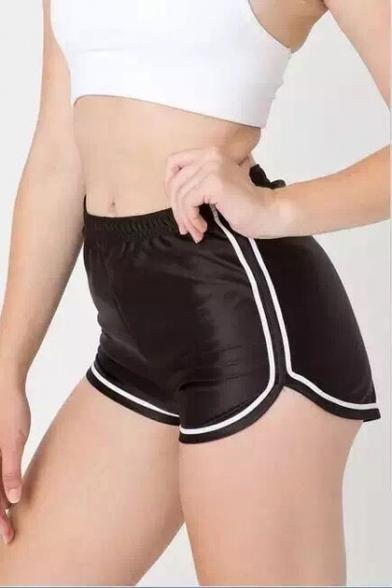 Basic Color Block Striped Elastic Waist Leisure Sports Shorts