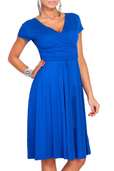 ... Elegant Plunge Neck Cap Sleeve Solid Color Gathered Waist A-Line Midi  Dress f97ded5cc
