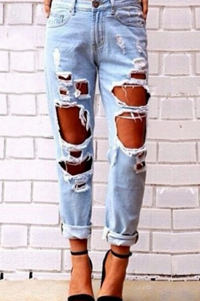 Fashion Ripped Destroyed Bleached Mid Waist Jeans