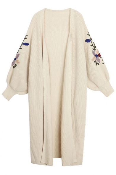 Open Front Puff Sleeve Floral Embroidered Sleeve Oversize Tunic Knit Cardigan