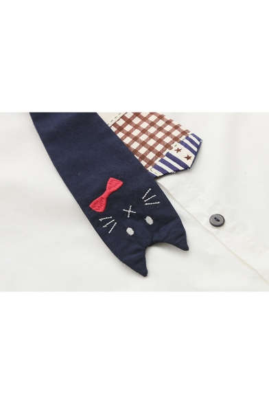 Lapel Collar Long Sleeve CVartoon Cat Printed Bow Tie Buttons Down Shirt