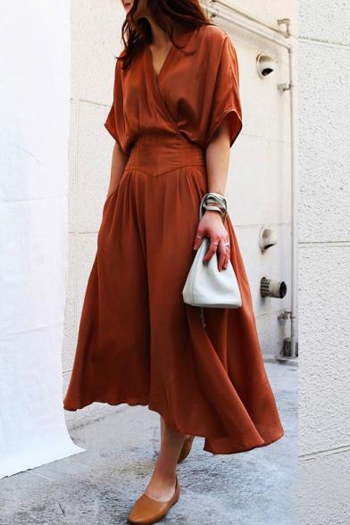 d90b1a1f5897 New Fashion Elegant V Neck Short Sleeve Plain Chic A-Line Maxi Dress -  Beautifulhalo.com