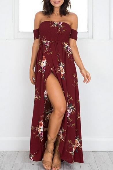 New Fashion Off The Shoulder Short Sleeve Split Front Maxi Beach Dress