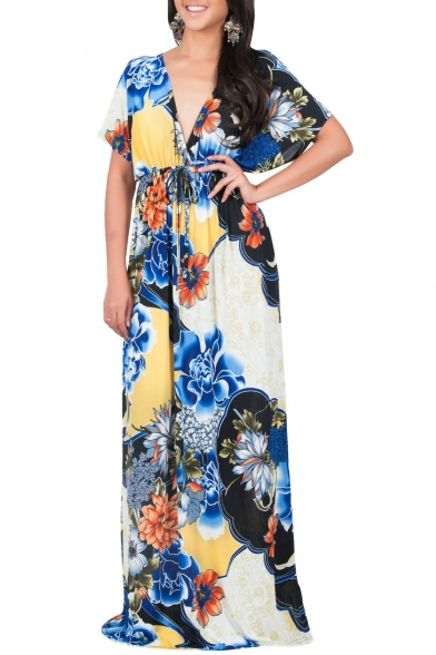 Sexy Plunge V-Neck V-Back Batwing Short Sleeve Floral Printed Color Block Maxi Dress