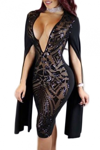Sexy Sheer Sequined Split Long Sleeve Plunge V-Neck Midi Bodycon Dress