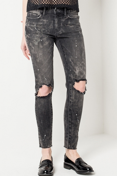 Summer's Cut Out Knees Plain Washed Leisure Ink Skinny Jeans