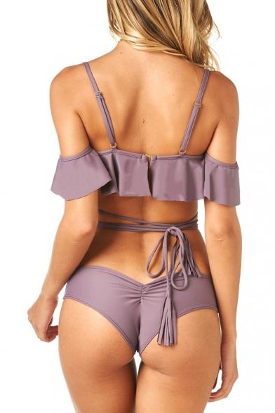 Spaghetti Straps Cold Shoulder Ruffle Hem Plain Bikini Swimwear