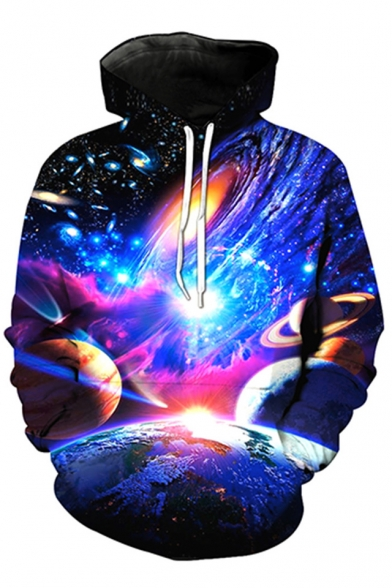 3D Long Unisex Sleeve Printed Sweatshirt Hoodie Galaxy dqngOt