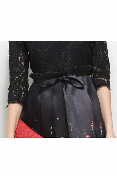 Elegant Half Sleeve Lace Patchwork Zip Back Floral Printed Midi A-Line Dress
