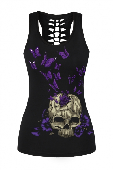 074c8423683c38 New Fashion Butterfly Skull Printed Cut Out Back Scoop Neck Tank Top -  Beautifulhalo.com