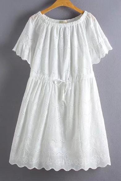 Sweet Lace Inserted Boat Neck Short Sleeve Plain A-Line Mini Dress