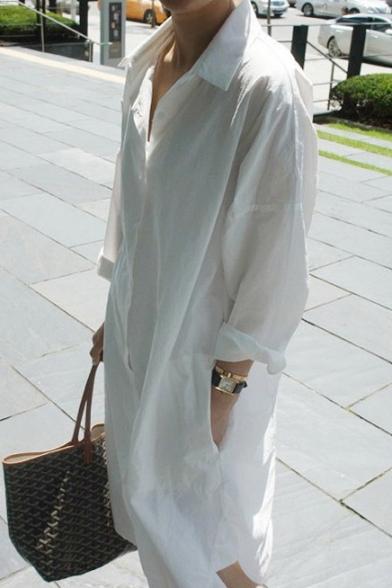 a454b2f52a6c ... Boyfriend Style Lapel Collar Long Sleeve Buttons Down Plain Shirt Dress  with Pockets ...