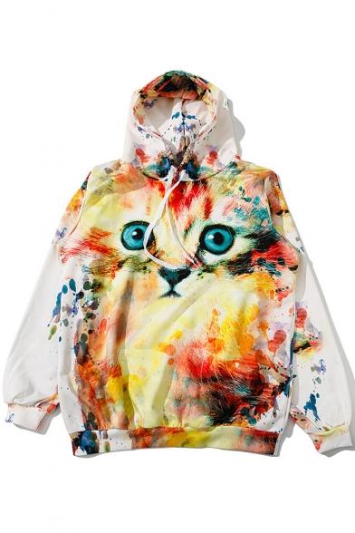 Cartoon Cat Printed Long Sleeve Casual Loose Leisure Hoodie