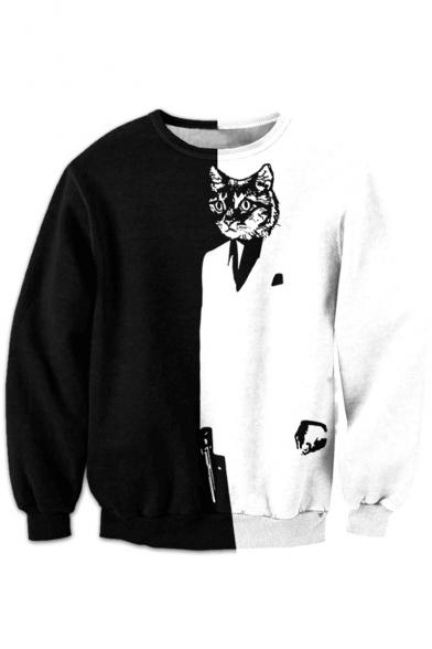 Color Block Cartoon Cat Printed Round Neck Long Sleeve Fashion Sweatshirt