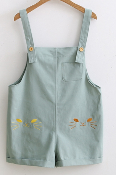 Cute Cat Embroidered Adjustable Straps Leisure Overalls with Pockets