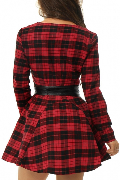 Fashion Leather Belt Waist Single Breasted Plaid Color Block Mini Shirt Dress