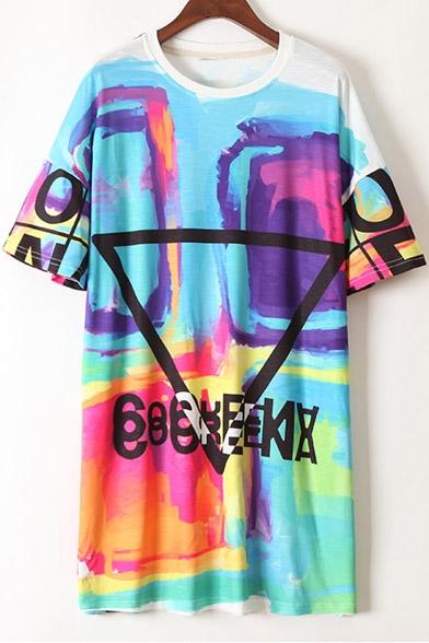 New Fashion Street Style Graffiti Printed Leisure T-Shirt Dress