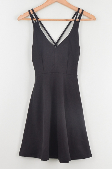 Sexy Crisscross Hollow Out Back Straps Sleeveless Plain Mini Dress