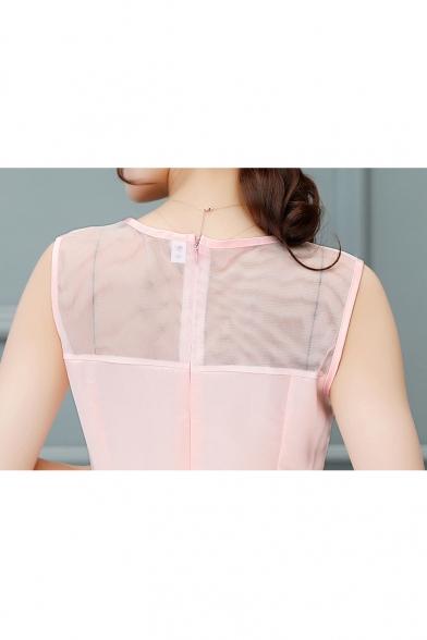 Sheer Mesh Layered Round Neck Sleeveless Plain A-Line Midi Dress