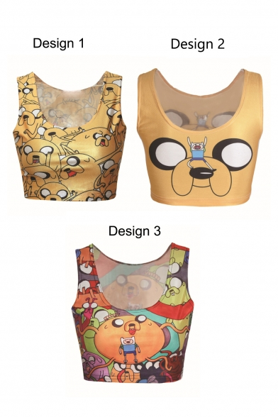 Yellow Sleeveless Adventure Time Print Crop Tank