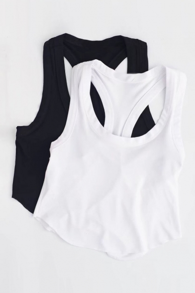 Plain Neck Top Back Tank Cropped Racer Scoop Summer's ftxwTdn7q7
