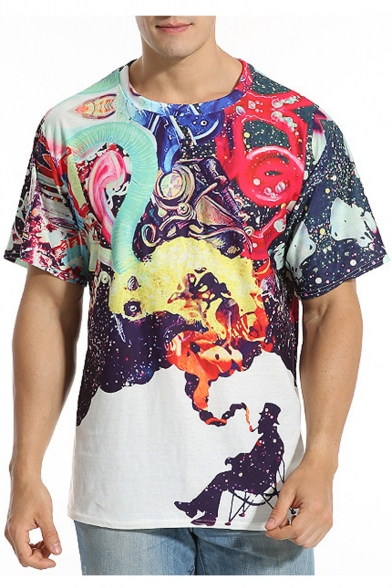 e275133ef129 Summer's Colorful Smoke Printed Round Neck Short Sleeve Graphic Tee -  Beautifulhalo.com