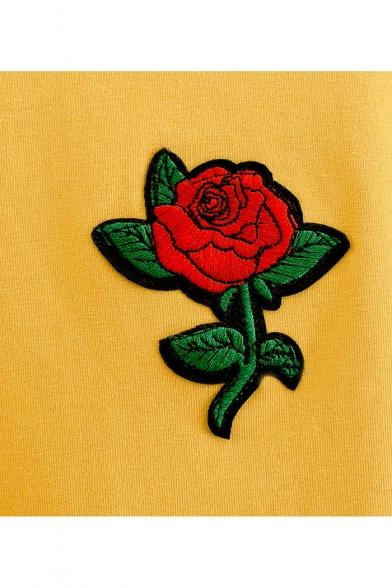 Summer's Embroidered Hem Short Neck Tee Sleeve Round Tassel Arrival Rose New rRx1nSWTr