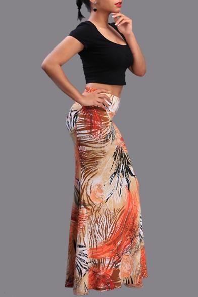 849696a13e ... Summer's High Waist Sexy Floral Printed Bodycon Maxi Skirt ...