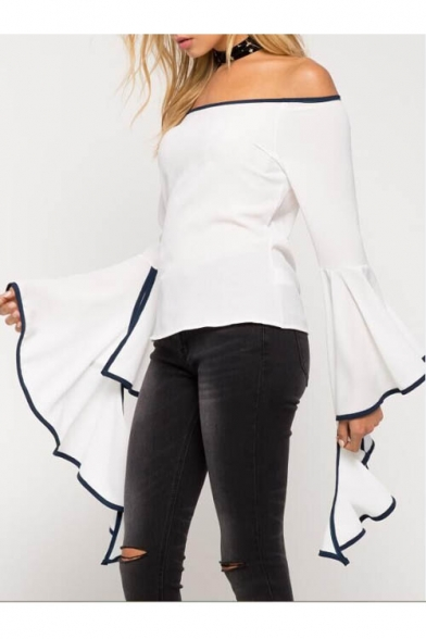 Women's Sexy Off the Shoulder Long Ruffle Sleeve Plain Blouse