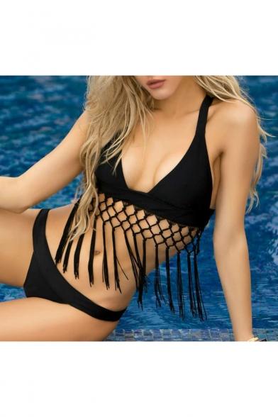 Arrival Hem Back Swimwear Sexy Bikini Crisscross Plain Tassel New pBdwq44