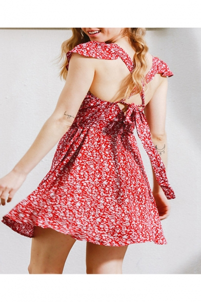 Summer's Backless Cap Sleeve Square Neck Floral Printed A-Line Mini Tea Dress