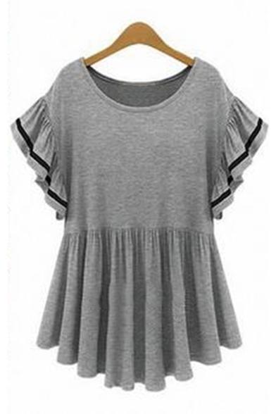 Short Dresses Round Sleeve Neck Flounce Plain Bodycon usa websites topshop