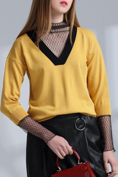 Contrast V Neck Long Sleeve Hollow Out Mesh Inserted Pullover Sweater