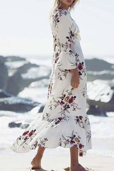 648f4fd1bc Leisure Floral Printed Bell 3 4 Length Sleeve Ruffle Hem Maxi Wrap Dress