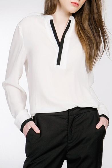 Black Contrast Mesh Print Sleeve Top and Wide Leg Pants Jumpsuits Women Elegant V k OL Work Plain Jumpsuit