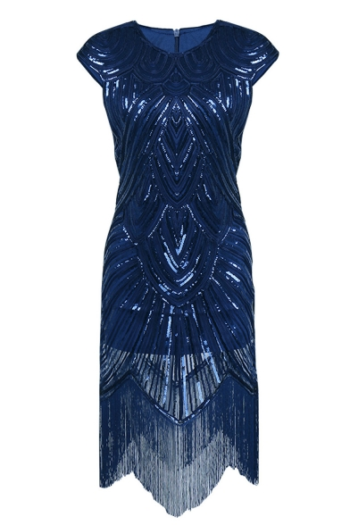 Round Neck Cap Sleeve Sequined Tassel Trim Vintage Midi Pencil Dress