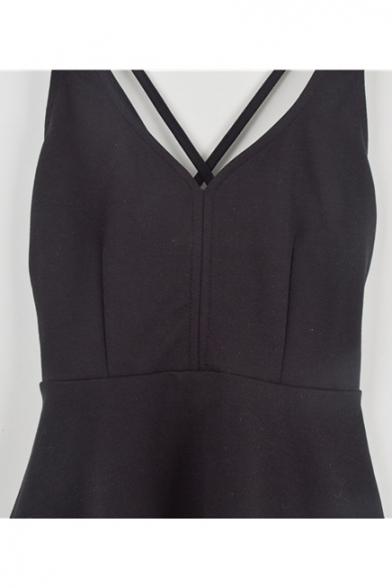 Crisscross Hollow Mini Out Straps Back Sleeveless Dress Plain Sexy PTZqxdwvP