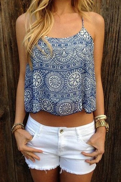 Summer's Leisure Tribal Printed Spaghetti Straps Cropped Cami Top