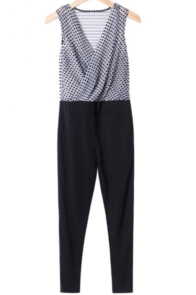 New Stylish Sleeveless Wrap Front Geometric Printed Jumpsuits