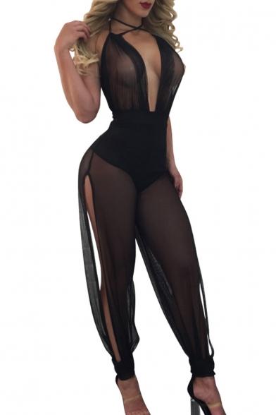Sexy Sheer Halter Plunge V-Neck Split Sides Sleeveless Plain Jumpsuits