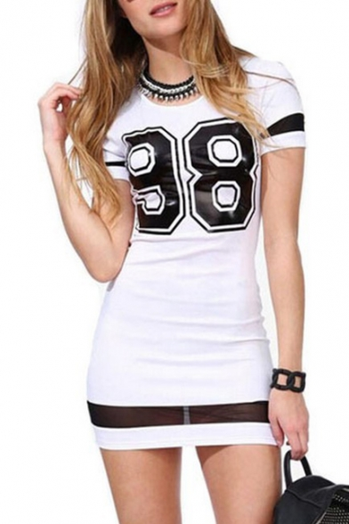 Casual 98 Letter Printed Short Sleeve Round Neck Mini Bodycon T-Shirt Dress