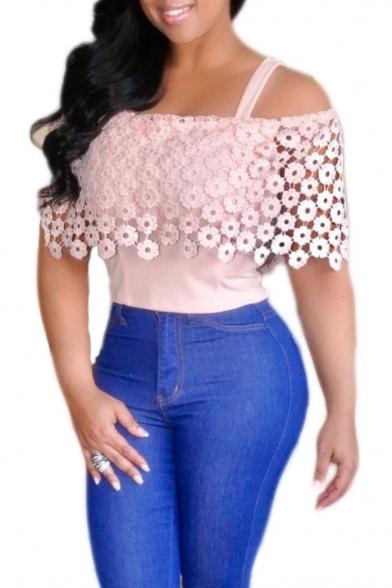 c33c9ec671a0b New Stylish Lace Floral Patchwork Cold Shoulder Plain Blouse Top -  Beautifulhalo.com