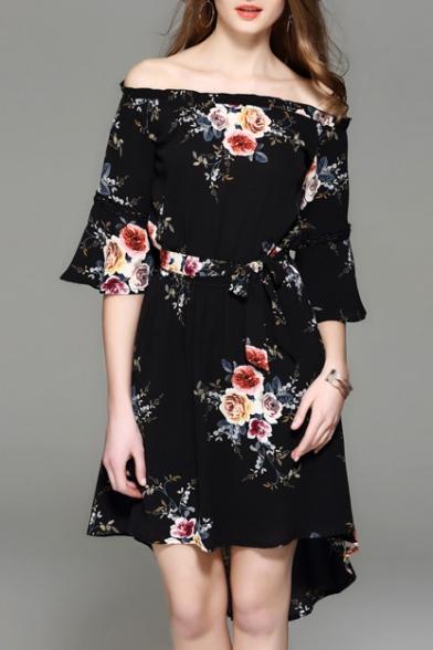 Off The Shoulder Half Sleeve Retro Floral Printed Tie Waist High Low Hem Asymmetrical Dress