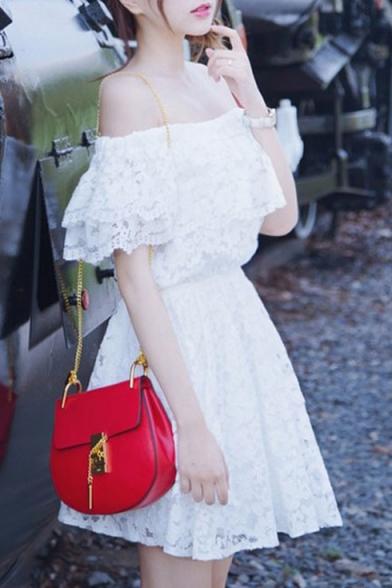 Off The Shoulder Ruffle Hem Crochet A-Line Mini Dress